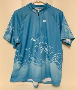 Louis Garneau Blue Cycling Bike JERSEY Women's Size 1X Half zip short sleeve