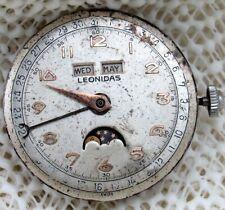 Leonidas Triple Dates Moon Phrase Swiss High Grade Movement, Spare Or Parts