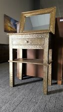 Moroccan Console Table + Mirror - Gold Carved & Etched Metal Entry Table
