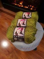 Lion Brand Yarn Landscapes Yarn Chartreuse Color Lot of 3 skeins NEW