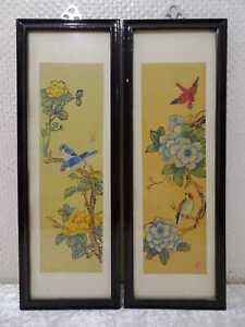 2 x Bild Seidenmalerei Vögel Blumen China Vintage Handgefertigt