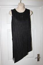 Ladies Black Stretchy Ribbed Dress Top Size 10 Roman