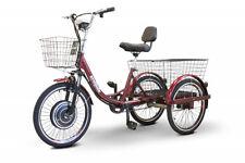 E-Wheels EW-29 Electric Trike - Speed 15 mph, 500 Watt, Baskets,Red, Pedaling