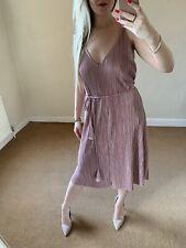 Topshop 12 Pink Dress Tassel Belt Shimmer Gatsby 1920s Vintage Pin Up Flapper