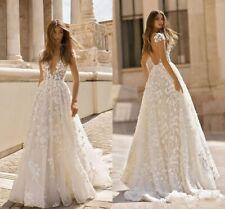 Summer Boho Beach Wedding Dresses A Line Sheer Cap Sleeves Deep V Neck Backless