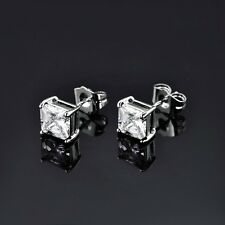Fit Charm Princess Sapphire Crystal Silver Gold Filled Fashion Stud Earrings