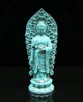 Collectible china Old Decorated Turquoise Carve Sakyamuni Statue Buddha Religion