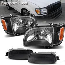 for 2001-2004 Toyota Tacoma Black Headlights+Corner Signal Light+Bumper Lamp L+R