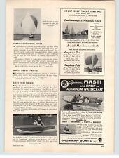 1957 PAPER AD Grumman Aluminum Watercraft Motorboat Boat Deluxe Runabout Davies
