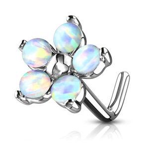 1pc Five Opal Petals Flower 20g L-Bend Nose Ring Stud Screw 316L Surgical Steel