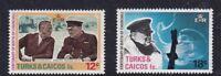TURKS & CAICOS ISL 30 NOV 1974 WINSTON CHURCHILL BOTH COMMEMORATIVE STAMPS MH f