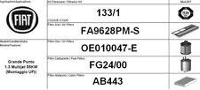 133/1 KIT FILTRI TAGLIANDO FIAT GRANDE PUNTO 1.3 MJT KW 55 CV 75 UFI EURO 4