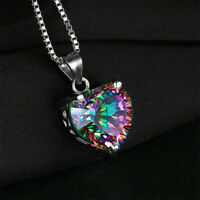 Mystic Silver Necklace Gift Jewelry Rainbow Chain Heart-shaped Pendant Topaz 925