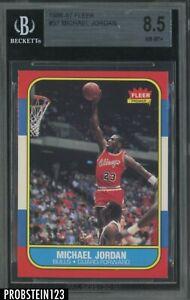 """1986-87 Fleer Basketball #57 Michael Jordan RC Rookie HOF BGS 8.5 """" LOOKS MINT """""""
