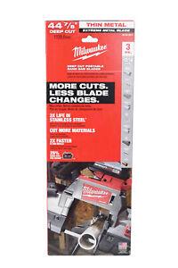 "Milwaukee 48-39-0611 44-7/8"" Bandsaw Blades Extreme Metal Deep Cut 12/14 TPI 3Pk"