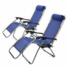 1 Pair blue Zero Gravity Lounge Chairs Recliner Outdoor Beach Patio Pool new