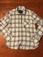 AMERICAN EAGLE OUTFITTERS Womens Mint Green Gray Plaid Flannel Shirt size XS