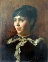SOLOMON J SOLOMON, Original Oil on Board, The Artist Sister, Signed, Dated 1881