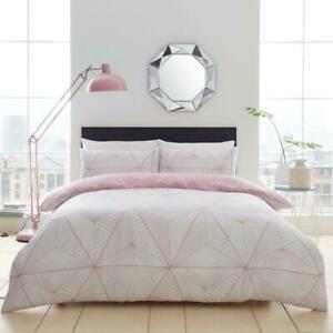 Luxury Zander Duvet Set Geometric Quilt Cover Cosy Reversible Bedding All Sizes