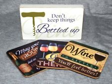 Wine Drinking Humour Sign Coasters Bar Pub Man Cave She Shed Kitchen Decoration