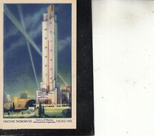 POST CARD 1933 CHICAGO CENTURY PROGRESS HAVOLINE THERMOMETER #728 NOV 13 BEAUTY