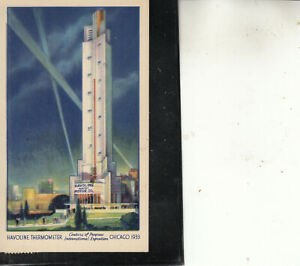 POST CARD 1933 CHICAGO CENTURY PROGRESS HAVOLINE THERMOMETER #728 NOV 13 BEAUTY