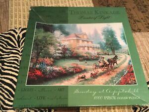 """NEW Thomas Kinkade  """"Sunday at Applehill"""", 1000 Piece Jigsaw Puzzle Unopened Box"""