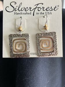 Silver Forest  NEW IN PACKAGE  18 kt on Surgical Steel Gold tone earrings