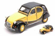 Citroen Charleston 2CV 1982 - Yellow/Black.1/24 Welly Model Car, Brand New Gif