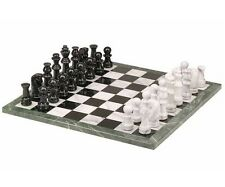 "16"" Black & White Marble Chess Game 32 Pieces Set 3 3/8"" King New"