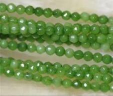 """Wholesale 5 Strands 4mm Faceted Green Peridot Round Gemstone Loose Bead 15"""""""