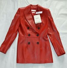 Alexander McQueen Red Leather Double Breasted Jacket Coat Womens IT40 UK8 BNWT