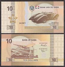 ANTILLES - ILE de SABA - Billet de 10 Dollars - MERCEDES TROSSI ROADSTER - NEUF