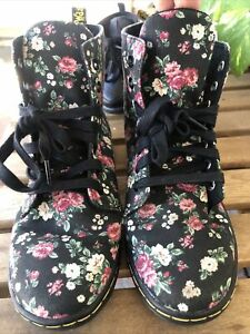 "Doc Dr. Martens ""Hackney"" Floral Black Roses Canvas Boots Shoe Womens Sz US 7"