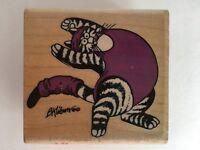 B Kliban Cat Stamp Jazzercat Rubber Wood Exercise Yoga Paper Craft 1991