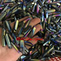 colours titanium rainbow aura lemurian quartz crystal point healing 50g H207