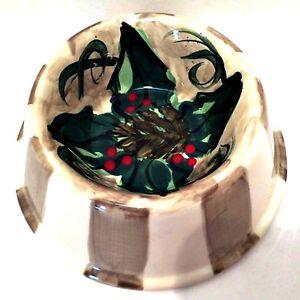 Christmas Pet Food Dish Signed Shannon Norton '97 Glazed Ceramic Hand Painted