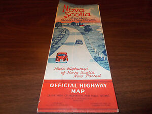1940 Nova Scotia Province-issued Vintage Road Map