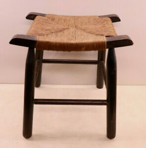 Antique / Vintage Primitive Wood Stool Bench Woven Rush Curved Saddle Seat
