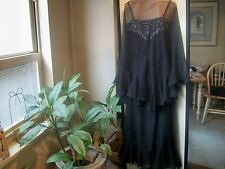 MOLLY PARNIS Boutique FORMAL Evening Gown Black Chiffon Sz S EXQUISITE Rare SALE