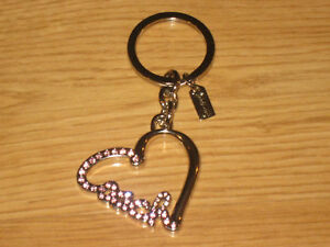 NEW COACH SILVER HEART PINK PAVE CRYSTALS 92631 CUTE