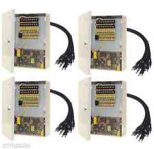 4 x Power Supply Box CCTV Camera 9 Port 12V DC+Pigtail