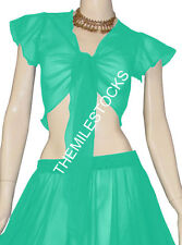 TMS Turquoise Ruffle Top Choli BellyDance Club Costume Boho Tribal Blouse Haut