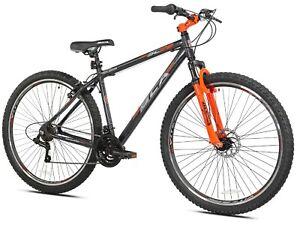 "Men's 29""  Mountain Pro Bike 21-Speed Bicycle w/ Front Suspension, Grey/Orange"