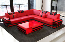 Design Sofa Couch modern Ragusa L Form Lounge Ottoman Ledercouch LED Beleuchtung
