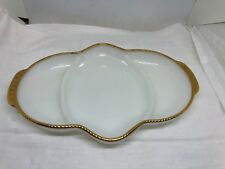 """VINTAGE MILK GLASS FIRE KING RELISH/SERVING DISH WITH GOLD TRIM 11"""""""