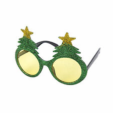 Novedad Navidad Elaborado Vestido Gafas (Verde Brillo árbol de Navidad)