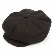 Oversized 8 Piece Baker Boy Melton Wool  Flat Cap - Black