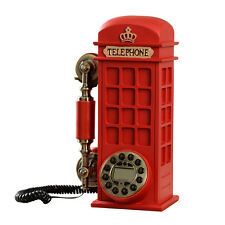 Retro Phone Booth Metal Landline Dial Corded Telephone Vintage Novelty