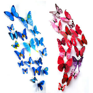 12 Pcs 3D Butterfly Magnet Wall Sticker Creative Clean DIY Artificial Room Decor